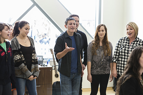 Vocal Ensemble performs in a Studio at FROST School of Music