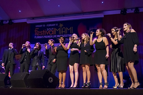 Vocal group singing at Festival Miami