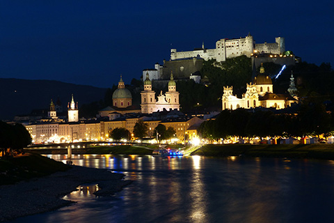 A shot of Salzburg at night
